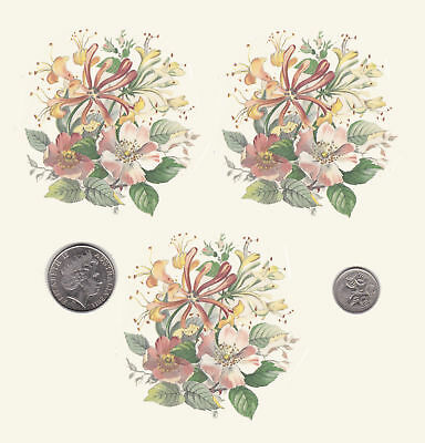 "3 x Waterslide ceramic decals Honeysuckle and blossoms 3"" diameter PD417"
