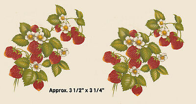 "2 x Large Strawberry fruit Ceramic decals Decoupage 3 1/2"" x 3 1/4"" PD640"