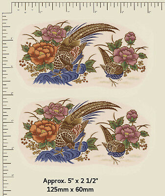 "2 x Waterslide Ceramic decals Oriental Pheasants Gold accents. 5"" x 2 1/2"" PD387"