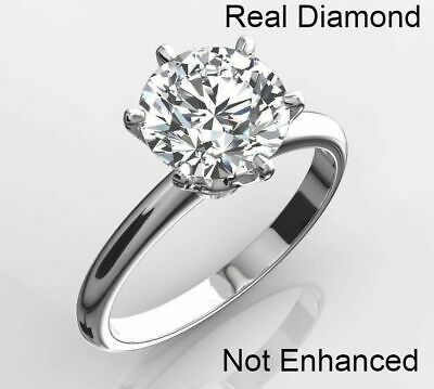 2.25 Ct Real Natural Diamond Engagement Ring Round Cut D Vs2 14K White Gold