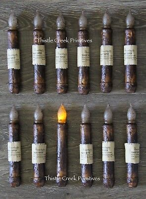"""12 - LED Burnt Mustard 6"""" - 6.5"""" Battery Operated TIMER Taper Candles"""