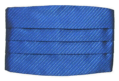 "New Men's Royal Blue Cummerbund Striped Shiny Metallic Fit All (27-50"" Waist)"