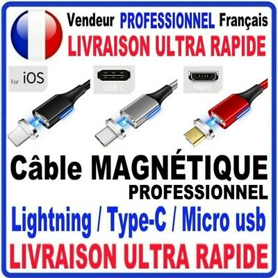 Cable Usb Chargeur Magnetique  Android Type C Micro Usb  Iphone Résistant 1M