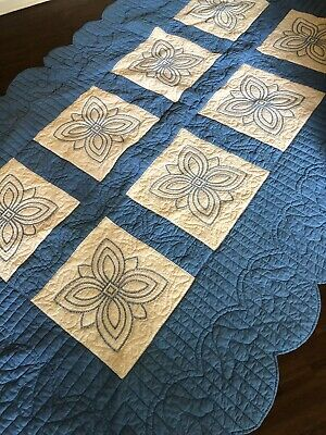 "Vintage Hand Quilted Stitched & EMBROIDERED QUILT Blue & White 65"" X 101"" Corton"