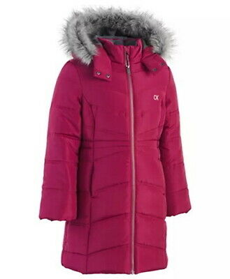 Calvin Klein Girls Puffer Jacket Coat Size Medium Age 8--9 years Berry Red $110