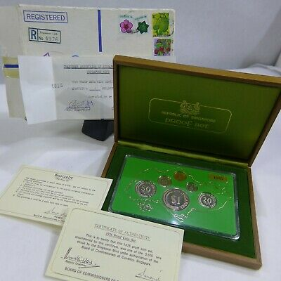 1976 Singapore 6 Proof Coin Set #1967/3500 Wooden Presentation Deluxe Case Rare!