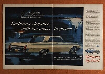 1962 Ford Galaxie 500 XL 406 V8 Classic Vintage Advertisement Ad H05