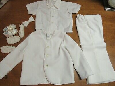 R-Gee Originals Boys Christening Baptismal Wedding Outfit Size 4t Toddler White