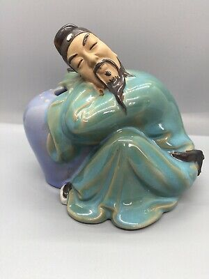 Vintage Chinese Szechwan Man Sleeping Against Jar Mudmen Figurine Signed