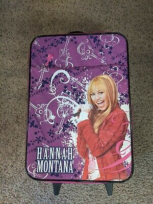 Vintage Hannah Montana Luggage With Wheels And Extra Carrying Case Near Mint