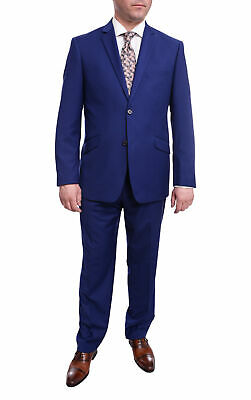 Mens 44R Men's Raphael Slim Fit Solid French Medium Blue Two Button 2 Piece F...
