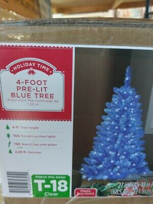 NEW! 4 Foot Pre Lit Blue Christmas Tree Clear Lights Glitter