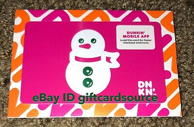 "Dunkin Donuts Coffee Gift Card ""Christmas Snowman"" Holiday 2019 No Value New"