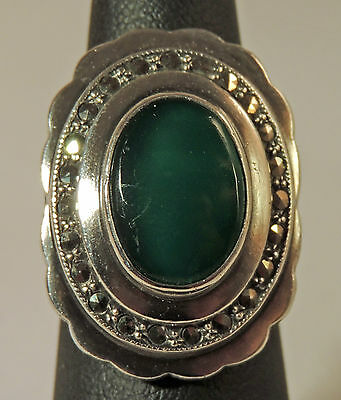 Stunning Estate Sterling Silver Green Chrysoprase Marcasite Art Deco Ring Size 6