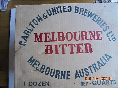 Vintage Melbourne Bitter 1 dozen quart bottle carton box Carlton & United