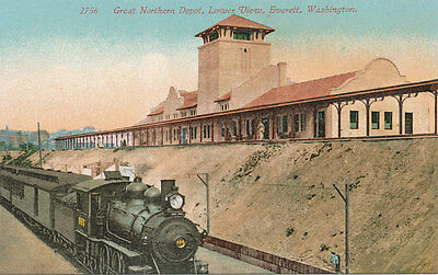 Everett WA * Great Northern RR Depot ca. 1910 * Steam Train