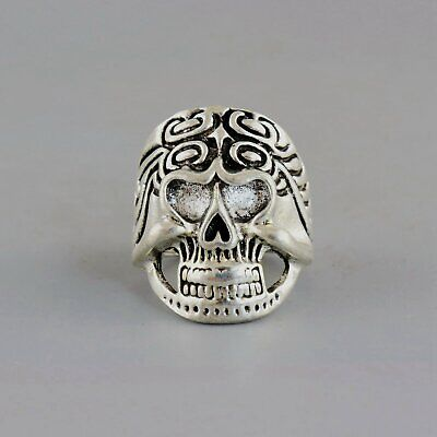 Collectable China Old Miao Silver Hand-Carved Vicious Skull Unique Decorate Ring