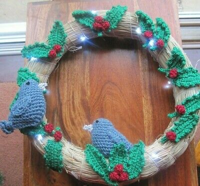 Stunning Hand Knitted Xmas Large Wall Art. Birds, Holly And Bright Lights.