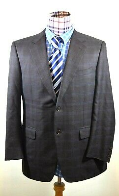 Canali Mens Brown Blue Check Houndstooth Silk Wool Two Button Sport Coat 42R