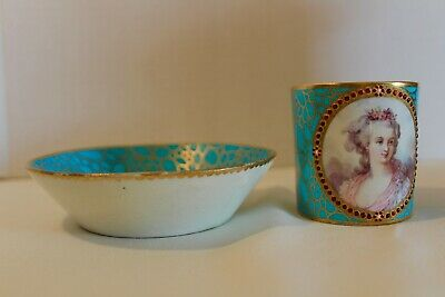 Rare & Beautiful Sevres Jeweled Portrait Cup & Saucer 19Th Century