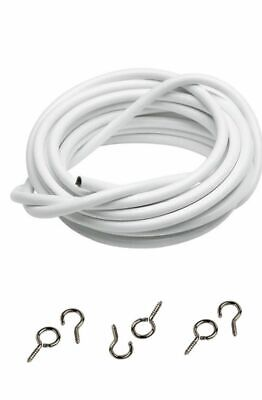 Net Curtain Wire White Window Cord Cable FREE HOOKS & EYES  2M