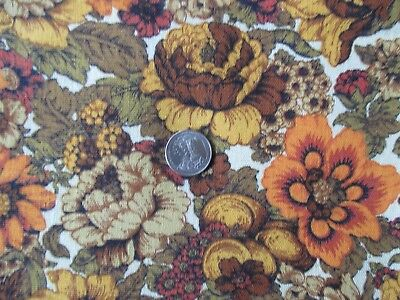 MOD Vintage ORANGE BROWN FLOWERS On CREAM 1960's Heavy COTTON Fabric-over 2 yd