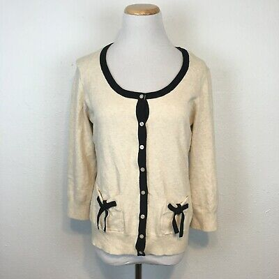 The Limited Women's Cream & Black Accent Cardigan Bow Sweater Size Large