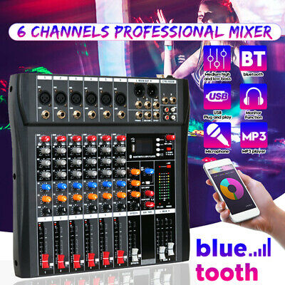 6 Channel USB Bluetooth Mixing Console 3-band EQ 48V Mixer for Live Studio Party