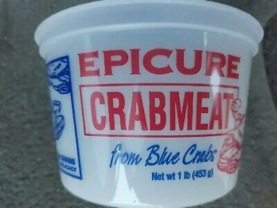"Epicure Plastic Container EMPTY ""Crab Meat From Blue Crab 1 lb"" No Lid Available"