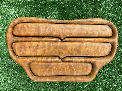 MCM Hand Carved Maple/Koa Wood Sculpture 3 Drawer Jewelry/Stash Box James Stadig