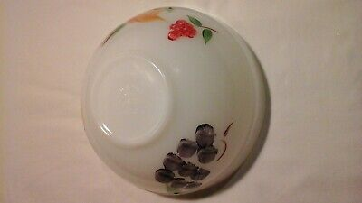 Anchor Hocking Fire King Mixing Bowl Gay Fad Fruit Motif 7 1/2 Inch Mid Century
