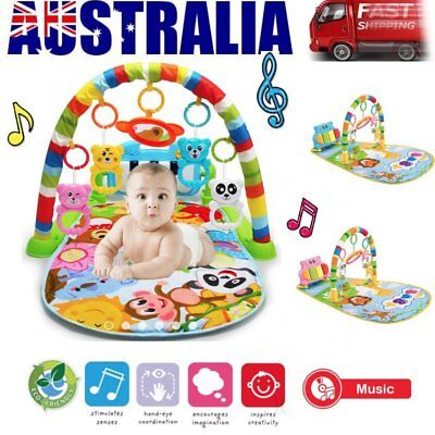 Baby Play Mat Toddler Gym Blanket Piano Pedal Fitness Frame Toy with Music cO
