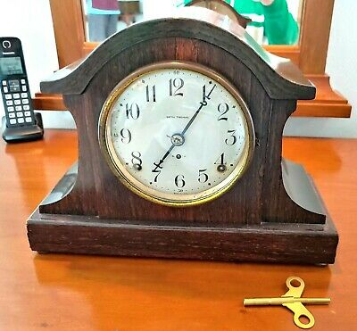 VTG SETH THOMAS Mantle Wind Up Clock Wood Works RARE