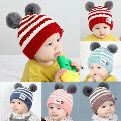 Infant Toddler Baby Kids Beanie Hat Winter Warm Double Pom Wool Knitted Cap