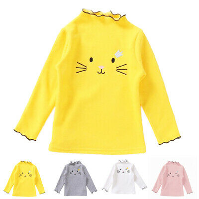 Kids Girls Long Sleeve Round Neck Plain Basic Stretch T-Shirt Top Age 3-8 Years