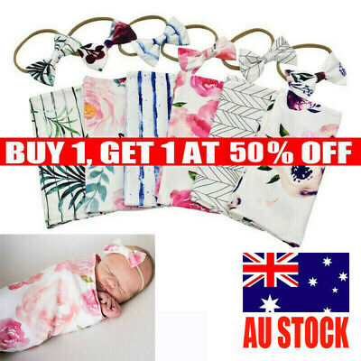 Newborn Swaddle Wrap Blanket Sleeping Bag Baby Girl Boy Headband Outfits Set AU
