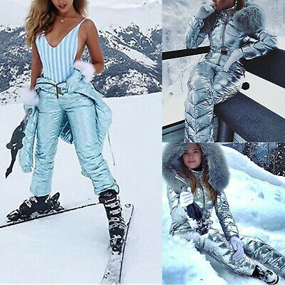Women Winter Jumpsuit Windproof Ski Snow Suit Outdoor Hooded Overall One Piece