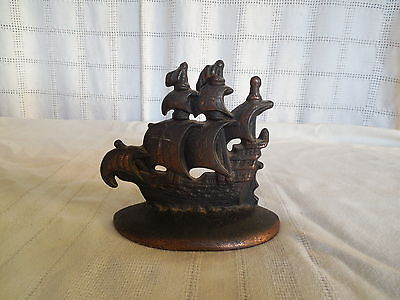Galleon corp cast iron w/bronze finish sailing ship bookend #901 1920