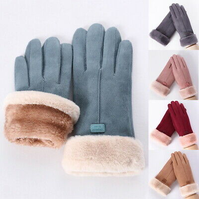 Women Lady Winter Warm Thick Soft Fleece Cashmere Gloves Windproof Touch Screen