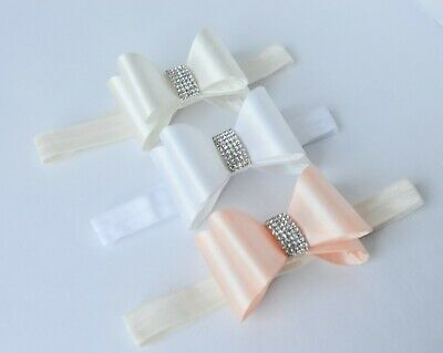 Baby Headband with satin bow, elastic hair band in White, Ivory, Coral SALE!!!