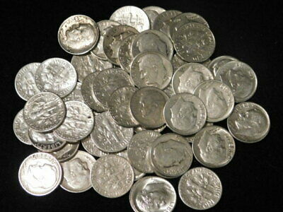 Roll Roosevelt Dimes 90% Silver $5 Face Value Vf-Bu 50 Coins L3