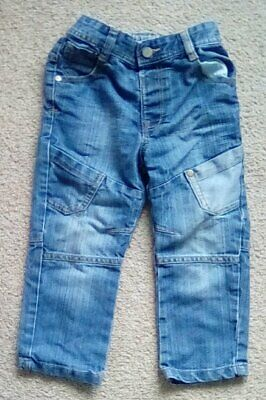 Boys Trendy Blue Denim Jeans Elasticated Waist - Size 2-3 Years