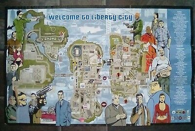RARE Grand Theft Auto GTA Liberty City Map & Poster PS2 Playstation 2 PS Two