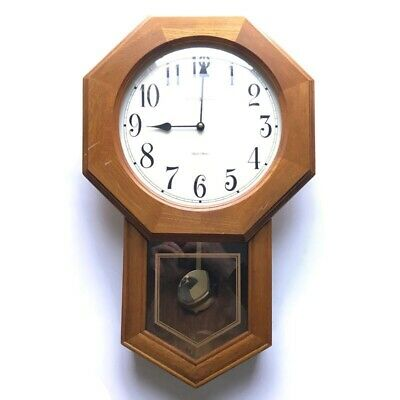 "Howard Miller Dual Chime Wall Clock ""Elliot"" Wooden 625-242 Tested and Working"