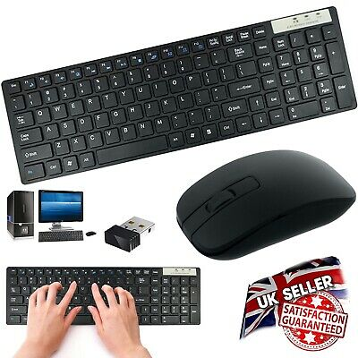 2.4GHz Slim Wireless Keyboard & Cordless Optical Mouse Combo Set For PC Laptop
