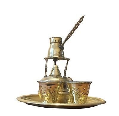 Hand made copper Turkish Coffee Maker Alcohol Burner + Tray + Pot  + 2 cups