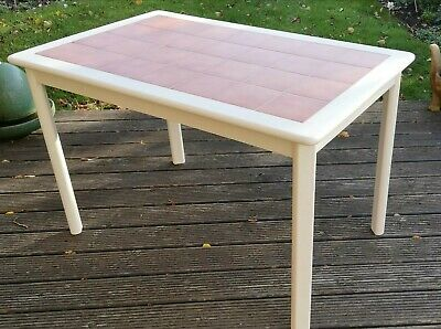Shabby Chic Cream Kitchen Table With Tile Top **Vintage/Retro**