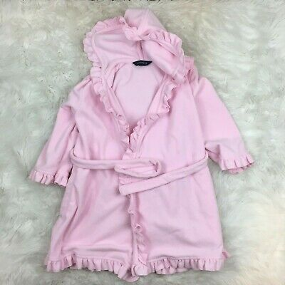 Lands End Girls Pink Fleece Ruffled Cute Bath Robe Size Small 4