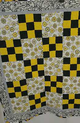 ". Baby Quilt Yellow Black Print Quilted Blanket Quilts For Kids 35"" x 42.5"""