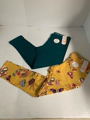 2 Pair WonderNation Kids Leggings Size M(7-8) Yellow Butterflies And Jade New